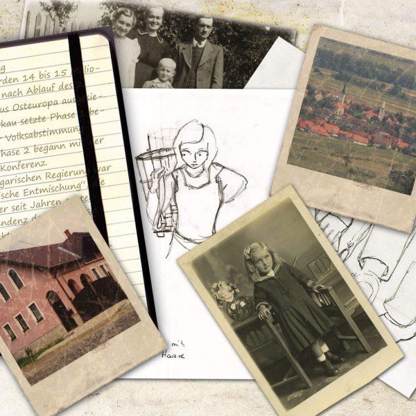 Die Collage zeigt Bleistiftzeichnungen, Notizen und Fotos aus Harkau