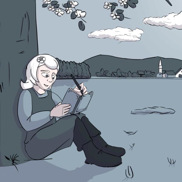 Luise sitzt unter einem Kirschbaum und schreibt in ihr Poesiealbum