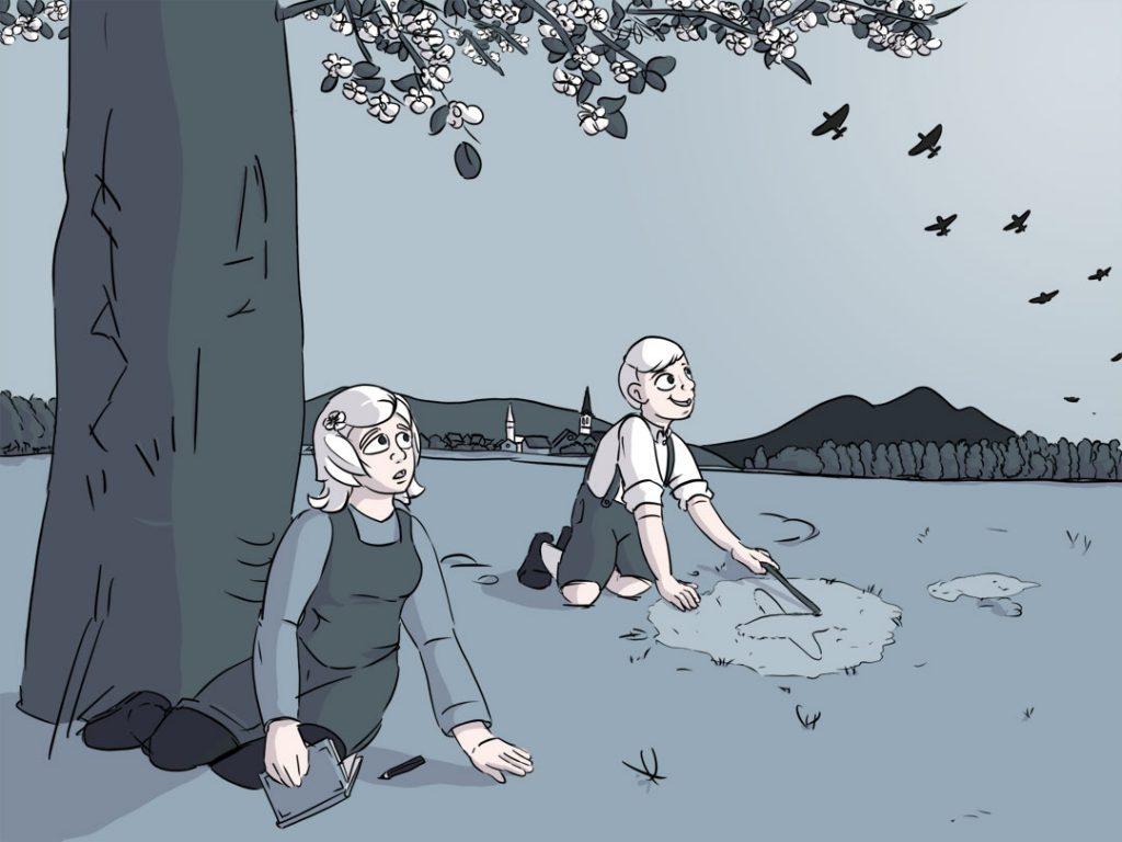 Luise und Mathias sitzen auf der Wiese. Am Himmel zieht ein Bomberverband der Alliierten vorrüber.