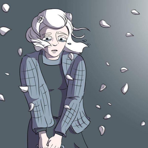 Luise steht vor dunklem Hintergrund. Kirschblüten fliegen im Wind an ihr vorbei.