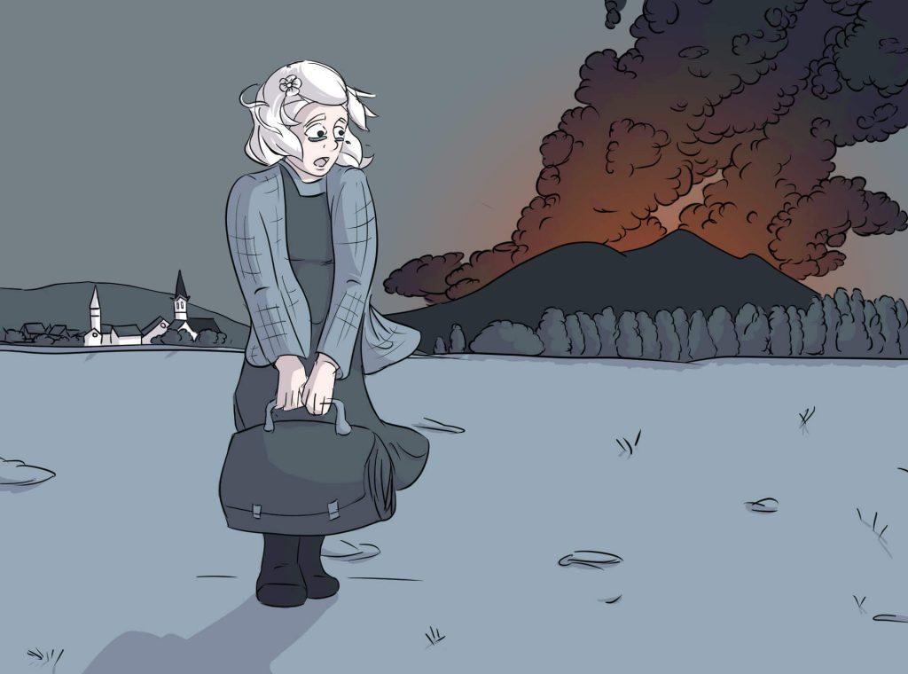 Luise steht mit einer Reisetasche auf dem Feld. Im Hintergrund zieht schwarzer Rauch am Horizont empor.