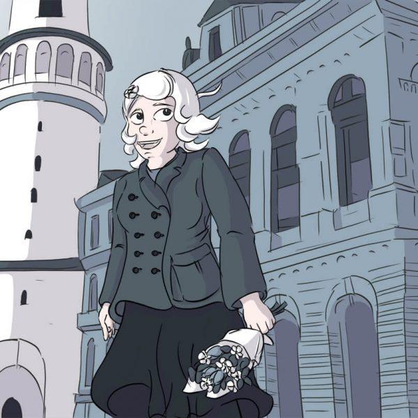 Luise steht mit ihrem neuen Kostüm vor dem Wahrzeichen der Stadt Sopron – dem Feuerturm