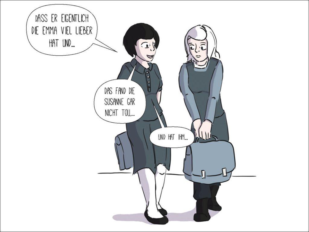 Rosa erzählt Luise den neuesten Gossip aus Harkau