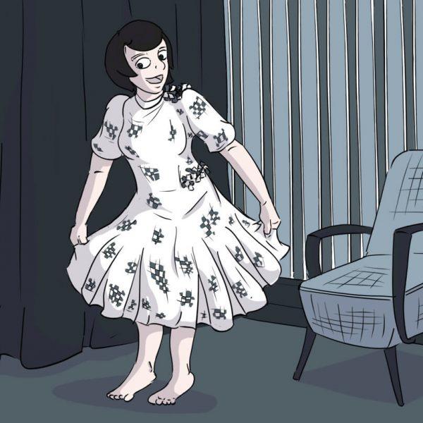 Rosa aus Harkau freut sich über ihr neues Kleid