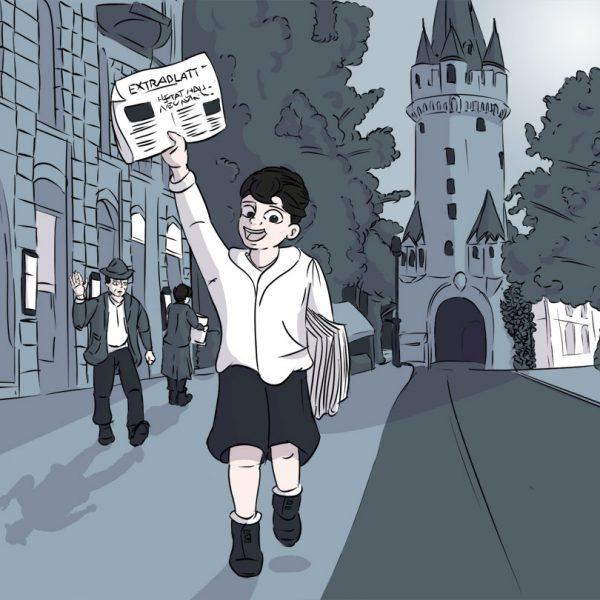 Die Illustration von Christian Sohn zeigt einen Zeitungsjungen um 1940 vor dem Eschenheimer Turm