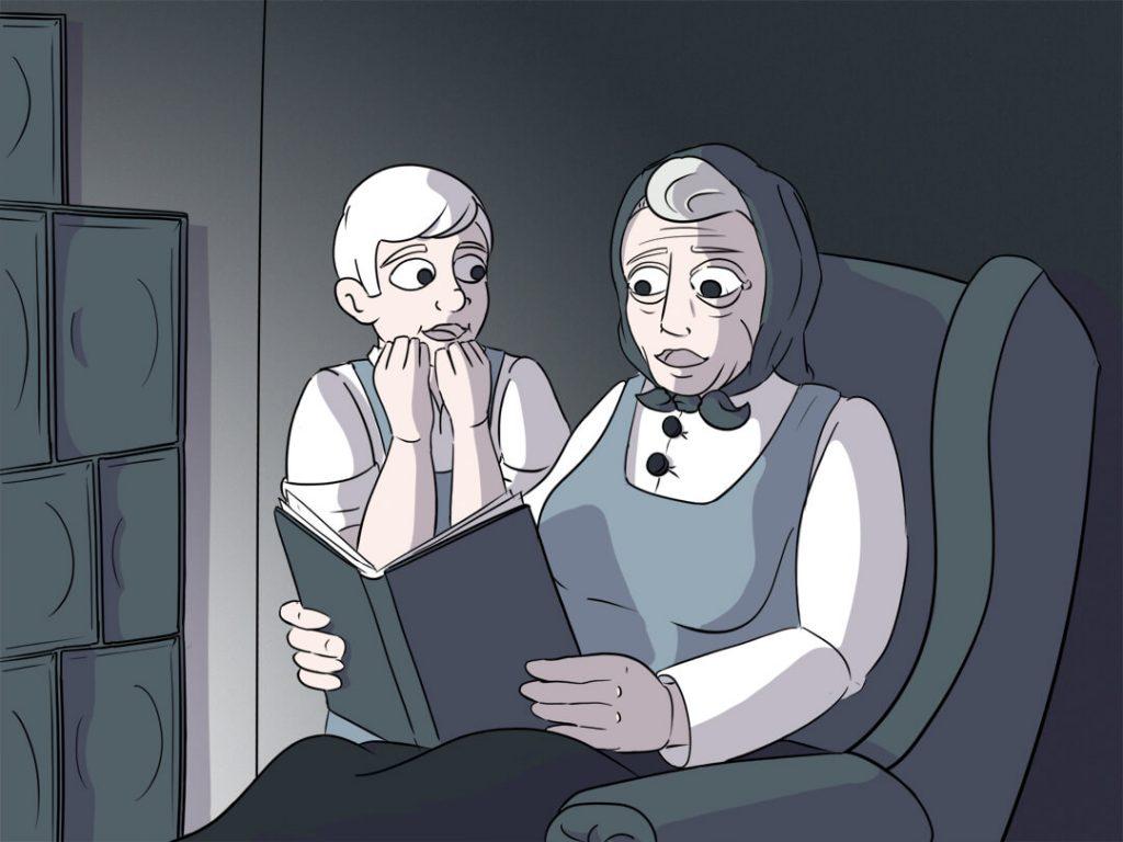 Die Großmutter Susanne aus Harkau liest ihrem Enkel Mathias ein Buch vor