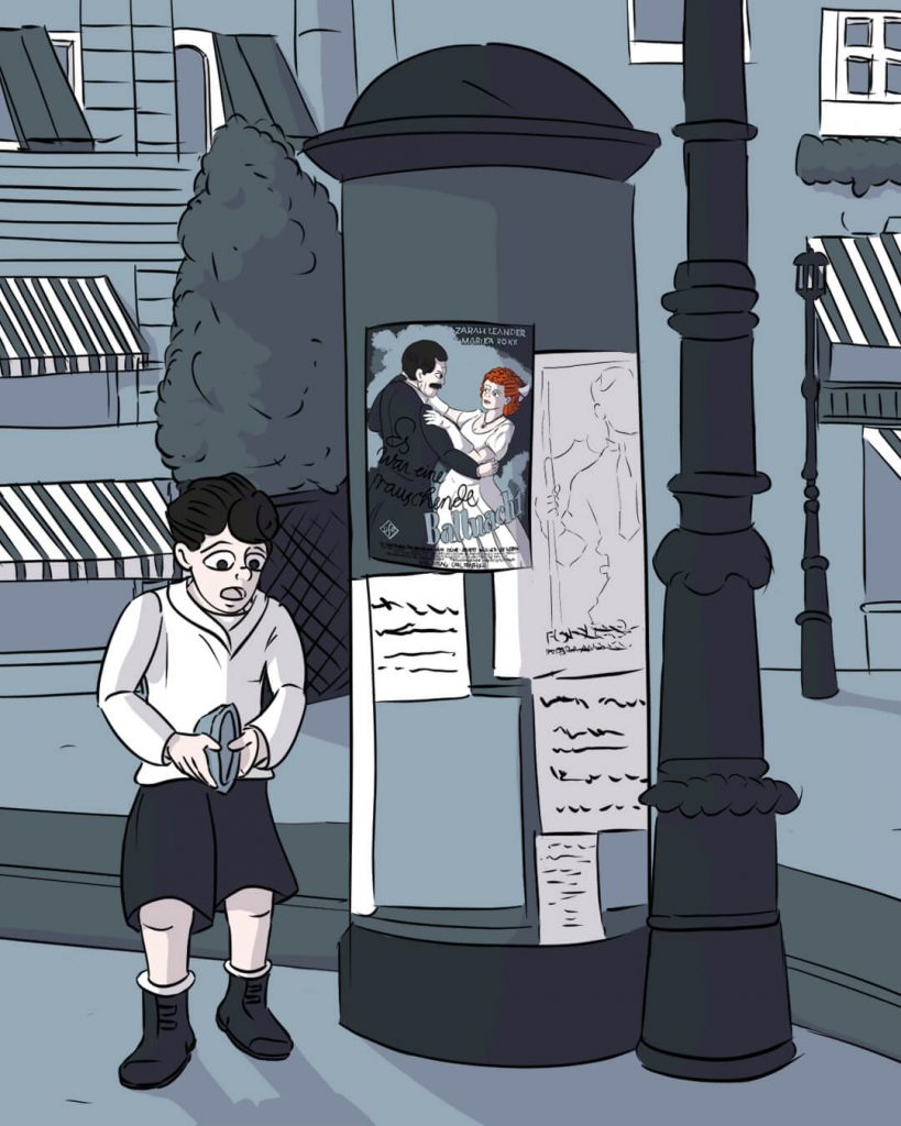 Ein Zeitungsjunge steht im Jahr 1940 an einer Litfaßsäule in Frankfurt