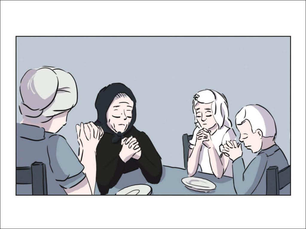 Großmutter Susanne sitzt mit ihrer Tochter Maria und den zwei Enkeln am Tisch und betet
