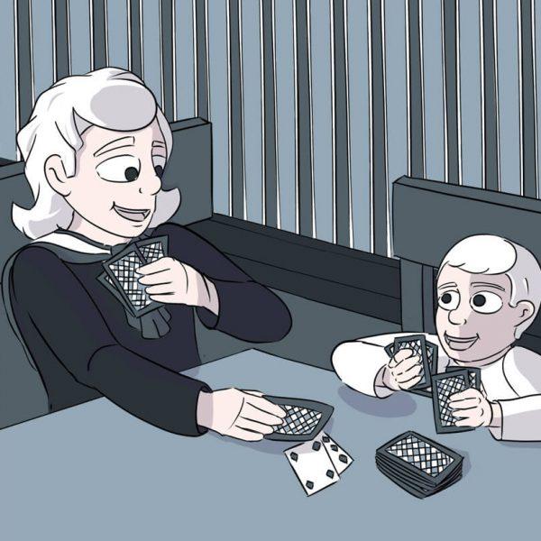 Die beiden Kinder Luise und Mathias aus Harkau spielen gemeinsam Karten