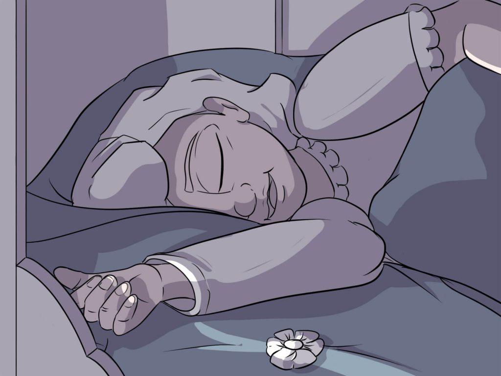 Luise aus Harkau liegt in ihrem Bett und schläft friedlich