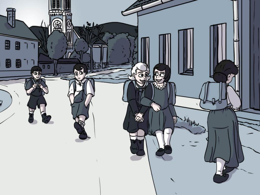 Luise und andere Grundschüler gehen morgens in die Grundschule in Harkau
