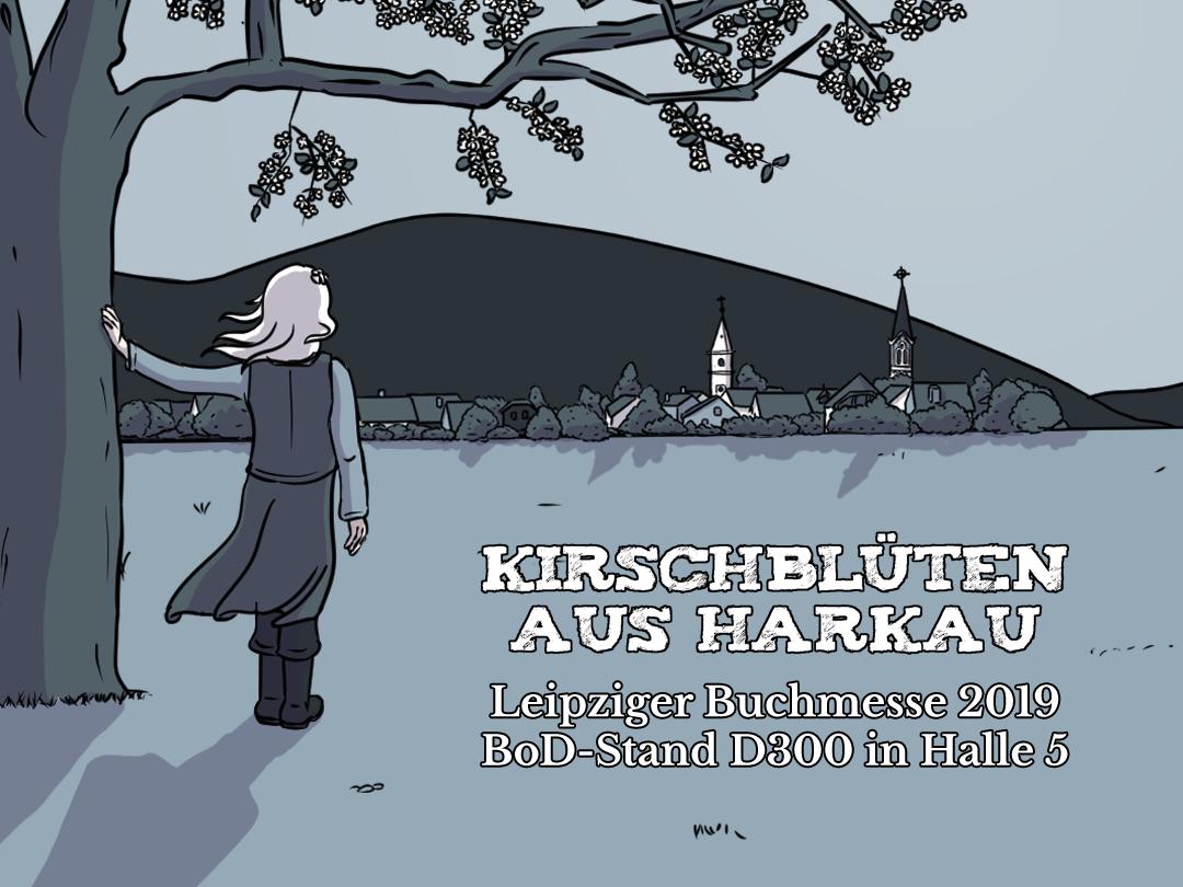 Das Comicbuch Kirschblüten aus Harkau auf der Leipziger Buchmesse am Stand von Books on Demand